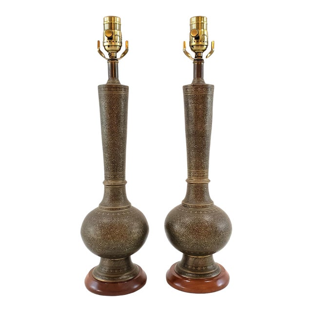 Mid-Century Arabesque Brass Lamps - a Pair For Sale