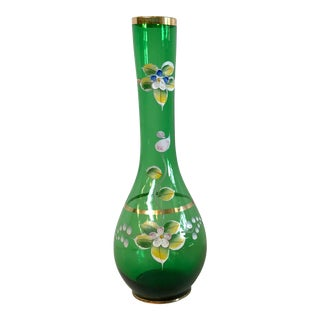 Vintage Green Vase With Raised Painted Floral Design For Sale
