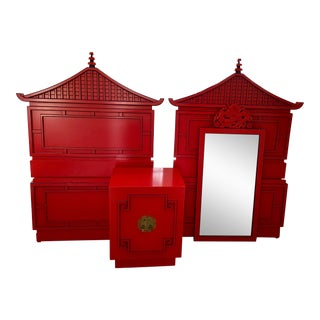 Red Lacquered Asian Pagoda Twin Bedframe Set-A Pair. For Sale