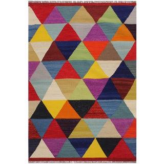 Retro Kilim Hand-Woven Wool Rug -3′2″ × 4′11″ For Sale