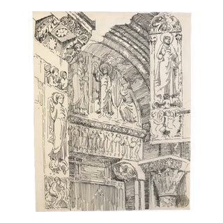 1920s Architectural Drawing of a European Basilica Doorway For Sale