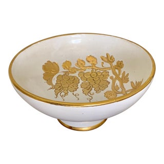 Vintage Italian Studio Footed Bowl With Hand Painted Gold Grapes Design For Sale
