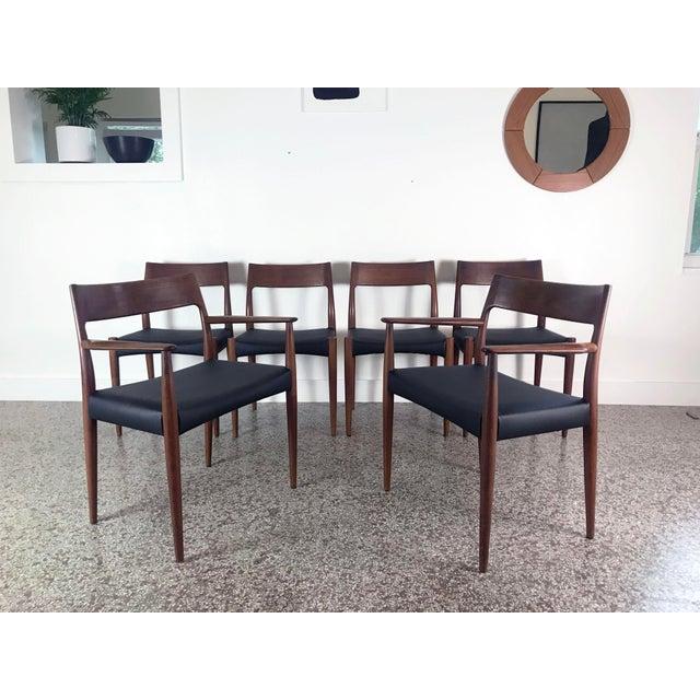 Wood 1960s Vintage Arne Hovmand Olsen Danish Teak Dining Chairs - Set of 6 For Sale - Image 7 of 12