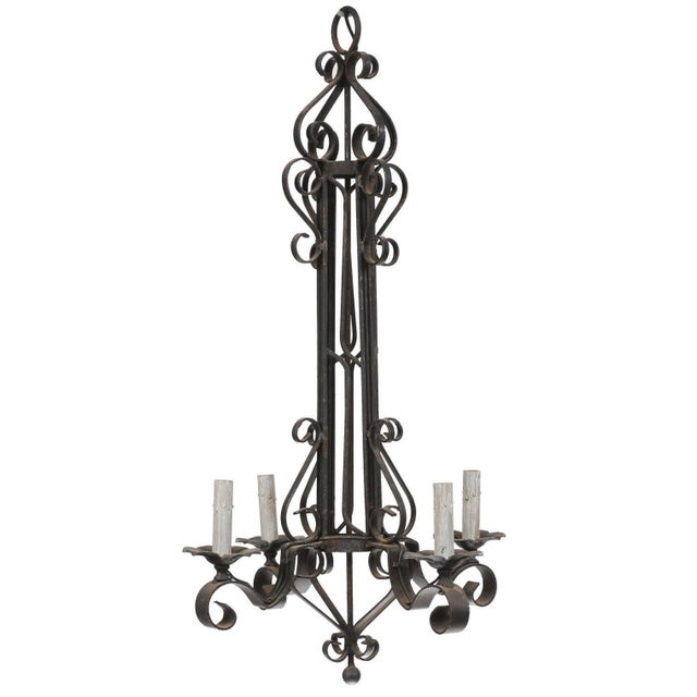 Tall French Four Light Black Iron C-Scrolled and S-Scrolled Chandelier For Sale - Image 9 of 9