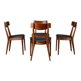 Mid Century Dining Chairs Drexel Declaration Kipp Stewart Walnut - Set of 4 For Sale