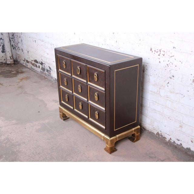 Asian Mastercraft Hollywood Regency Chinoiserie Faux Tortoise Shell and Brass Chest of Drawers For Sale - Image 3 of 13