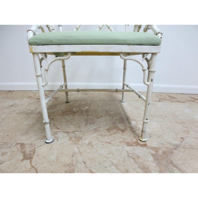 Vintage Metal Faux Bamboo Arm Chair For Sale In Philadelphia - Image 6 of 10