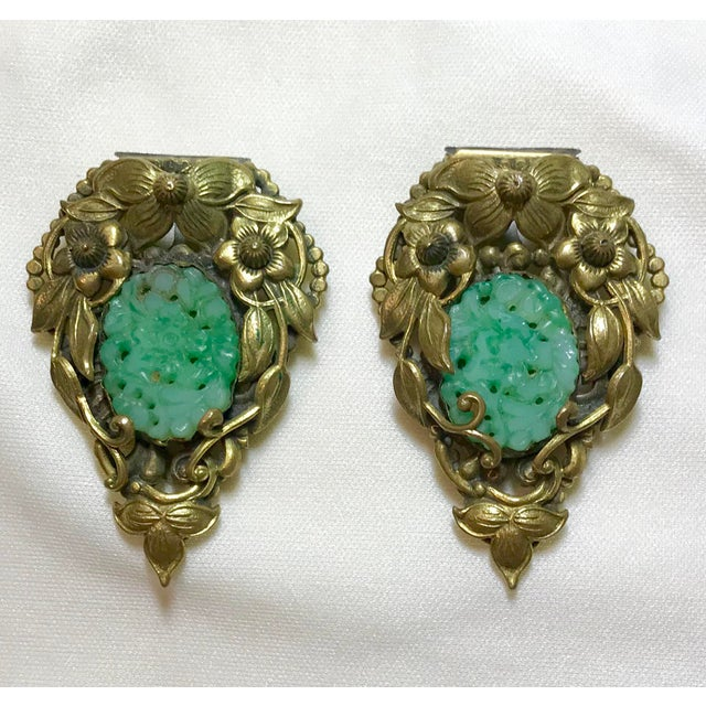 1930s Goldtone Floral Dress Clips Set With Molded Jade Green Glass - a Pair For Sale - Image 4 of 6