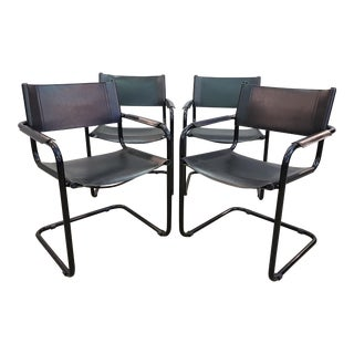 Set of Four Vintage Mid Century Cantilevered Mart Stam Style Black Steel and Leather Designer Armchairs For Sale