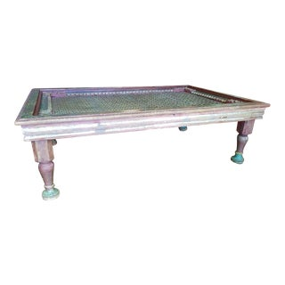 Vintage Indian Iron Window Grate Painted Coffee Table For Sale