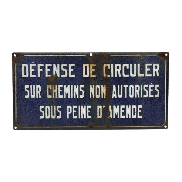 French Rustic Blue and White Sign For Sale