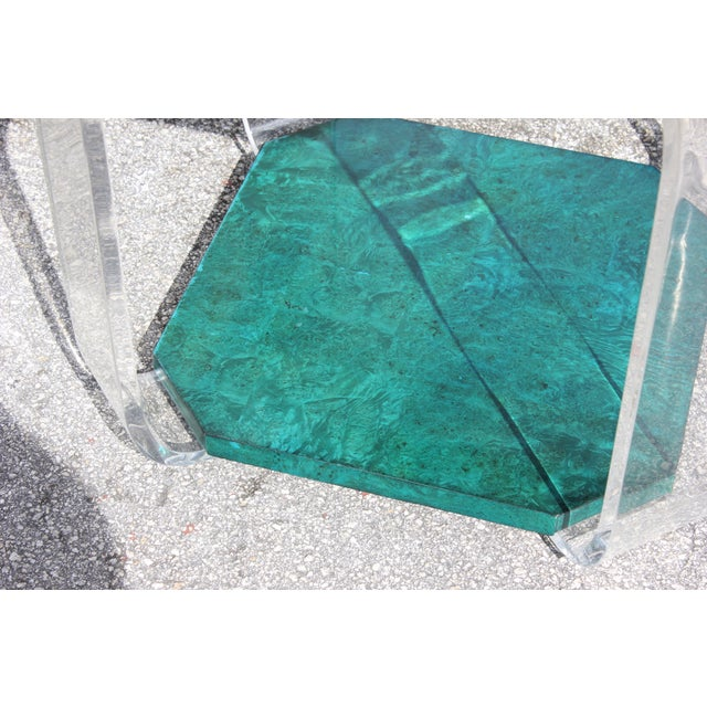 Green 1970s Mid-Century Modern Green Emerald Burwood and Lucite Accent Table For Sale - Image 8 of 13