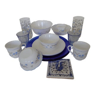 French Blue & White Dinnerware, Servers and Glasses - Set of 16
