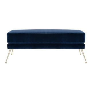 Italian Bench in Navy Velvet by Montage For Sale