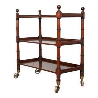 English 19th Century Faux Bamboo Mahogany Trolley For Sale