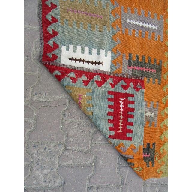 "Vintage Handwoven Kilim Rug - 3'8"" x 5'1"" For Sale - Image 5 of 6"
