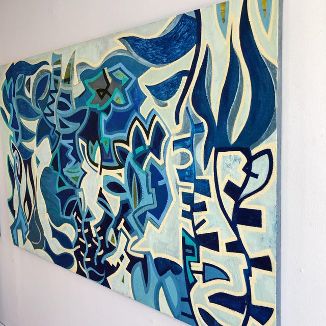Large oil on canvas original with abstract lines in different hues of blue. Monogram D Signature unknown artist.