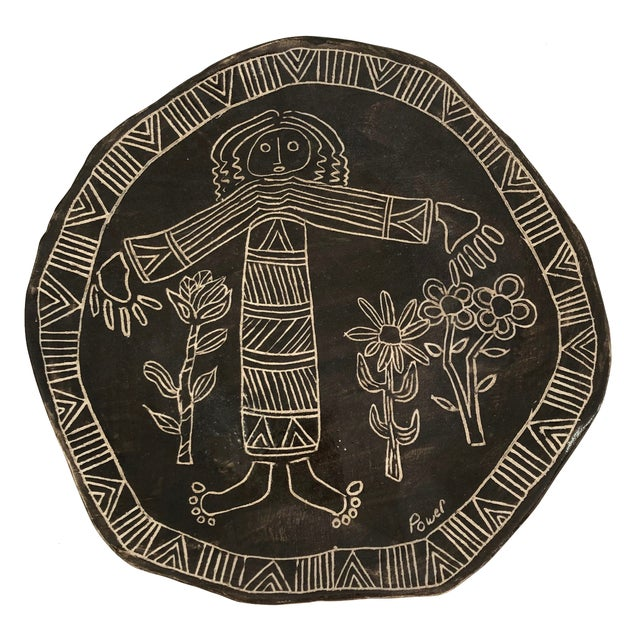 Slab Pottery Plate With Sgraffito Earth Mother and Flowers For Sale - Image 13 of 13