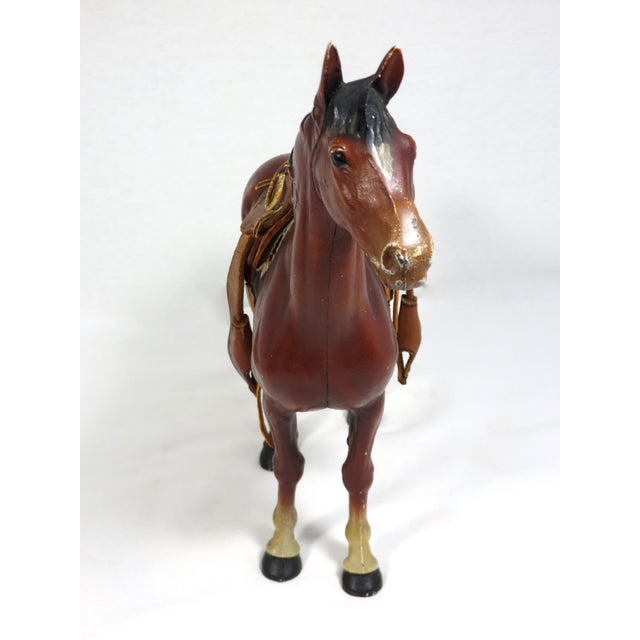 1930s Cast Iron Horse & Leather Saddle Doorstop For Sale In Boston - Image 6 of 12