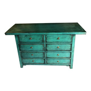 Asian Modern Distressed Teal Chest of Drawers For Sale