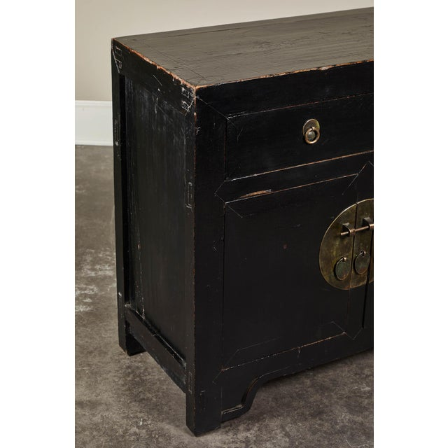Metal 18th C. Chinese Black Lacquer Elm Sideboard For Sale - Image 7 of 10