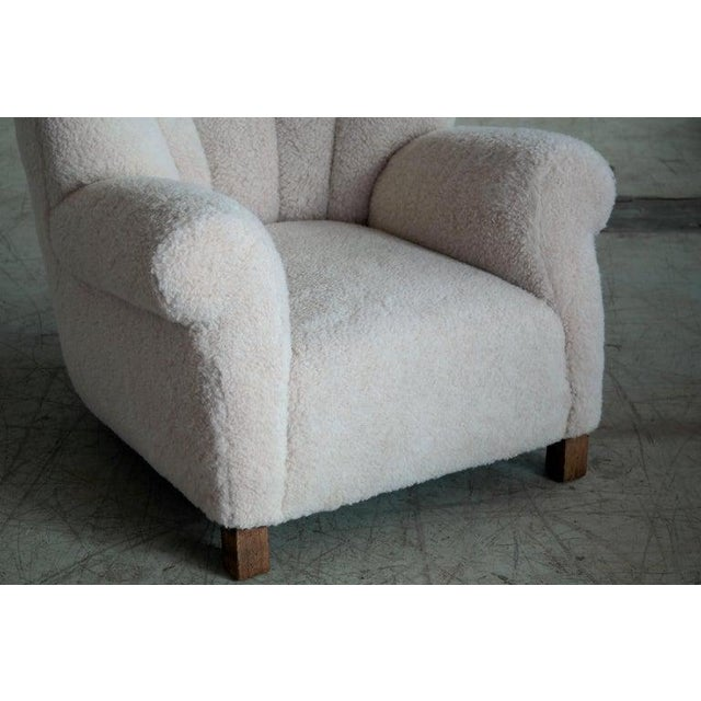 1940s Danish Fritz Hansen Model 1518 Large Club Chair in Lambswool, 1940s - a Pair For Sale - Image 5 of 10