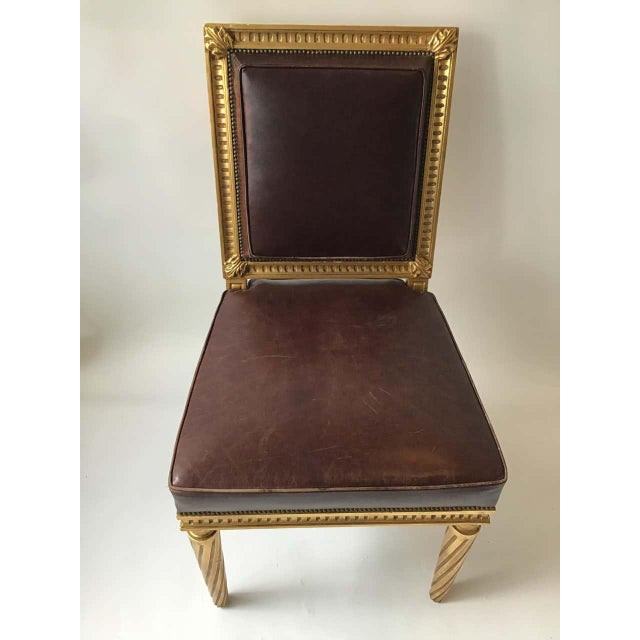 French Style Louis XVI Giltwood/ Leather Dining Chairs- Set of 4 For Sale - Image 12 of 13