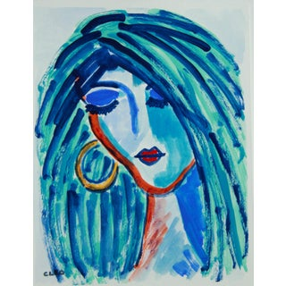 Fauvist Face Portrait in Blue by Cleo Plowden For Sale