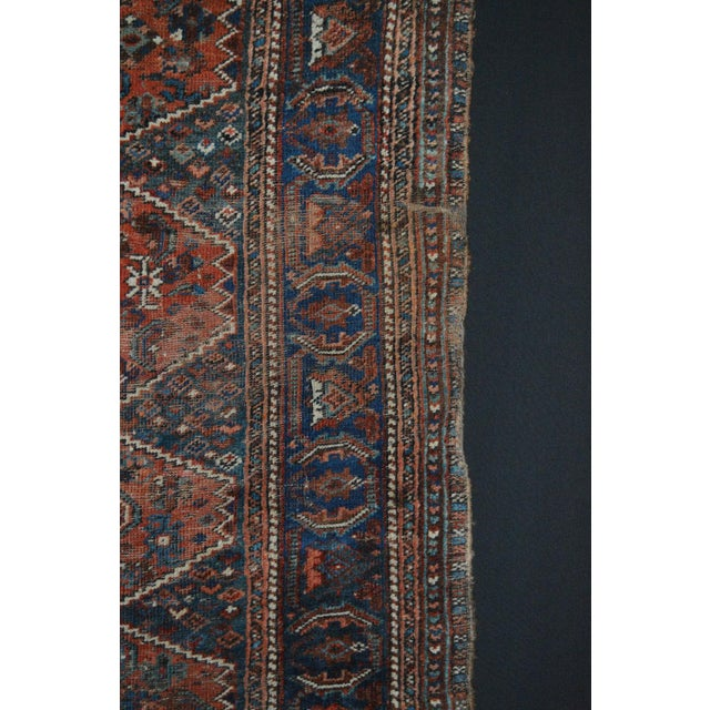 """Distressed Antique Persian Tribal Rug - 3'7"""" X 4'9"""" - Image 8 of 9"""