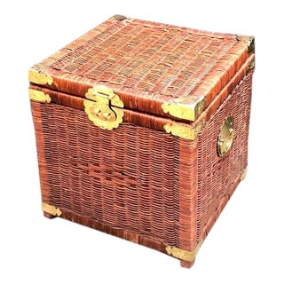 Chinoiserie Brown Wicker Storage Trunk For Sale