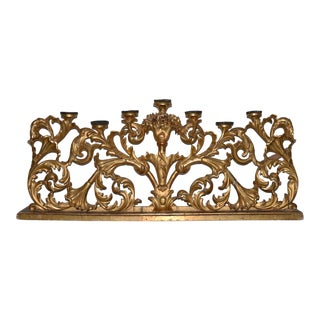 Mid 19th Century Large Scale French Carved & Gilded Altar Candle Holder For Sale