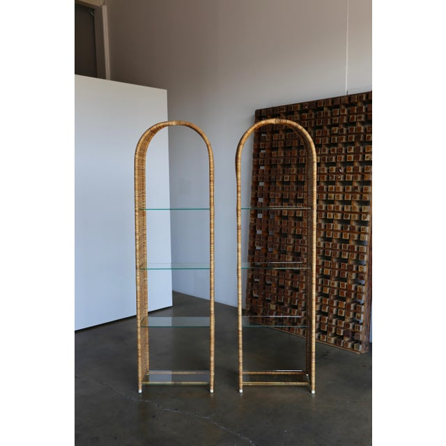 Danny Ho Fong for Tropi-Cal pair of etageres. Rare detail to the top of each etagere / bookcase.