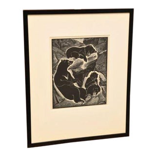 Barbara Latham Print/Wood Engraving of Bear Family For Sale