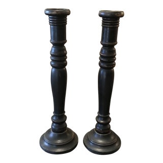 Vintage Rustic Wood Candle Holders - a Pair For Sale