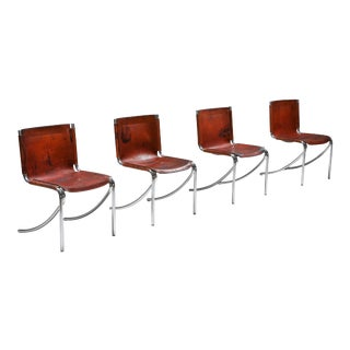 1970s Giotto Stoppino Leather and Chrome Dining Chairs Model Jot - Set of 4 For Sale