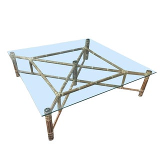 Large Bamboo and Glass Square Coffee Table by John McGuire For Sale