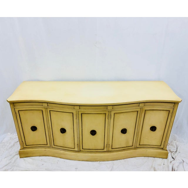 Stunning Vintage Mid Century Era Hollywood Regency Style Serpentine Shaped Buffet Sideboard in original finish with...