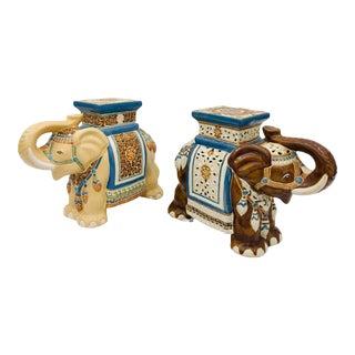 Vintage Porcelain Elephant Garden Stools For Sale