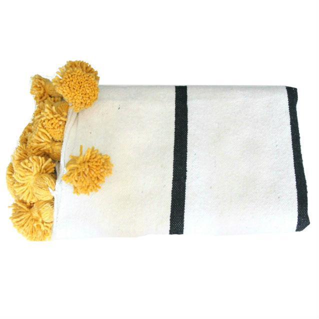 Islamic White Black Saffron Pompom Throw For Sale - Image 3 of 3