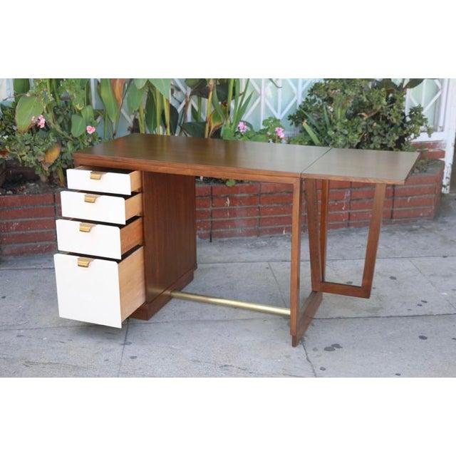 Metal Edward Wormley Drop Leaf Desk For Sale - Image 7 of 13