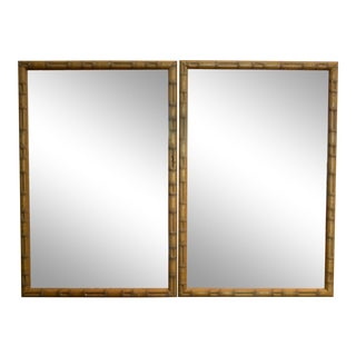 Faux Bamboo Mirrors, a Pair For Sale