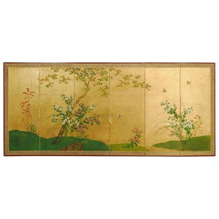 Japanese Six-Panel Byobu Screen Spring Floral and Fauna For Sale