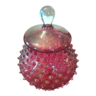 20th Century Contemporary Bohemia Glass Ruby Glass Cookie Jar For Sale