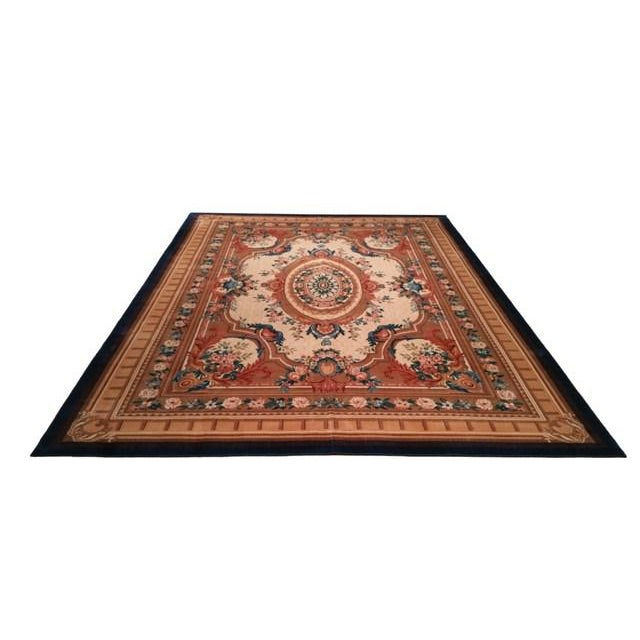 """French Aubusson Design Wool Rug - 9'8"""" X 13' - Size Cat. 10x13 10x14 For Sale - Image 3 of 4"""