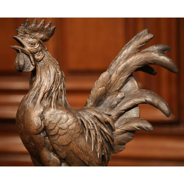 Metal 19th Century French Patinated Spelter Crowing Rooster Sculpture on Round Base For Sale - Image 7 of 8