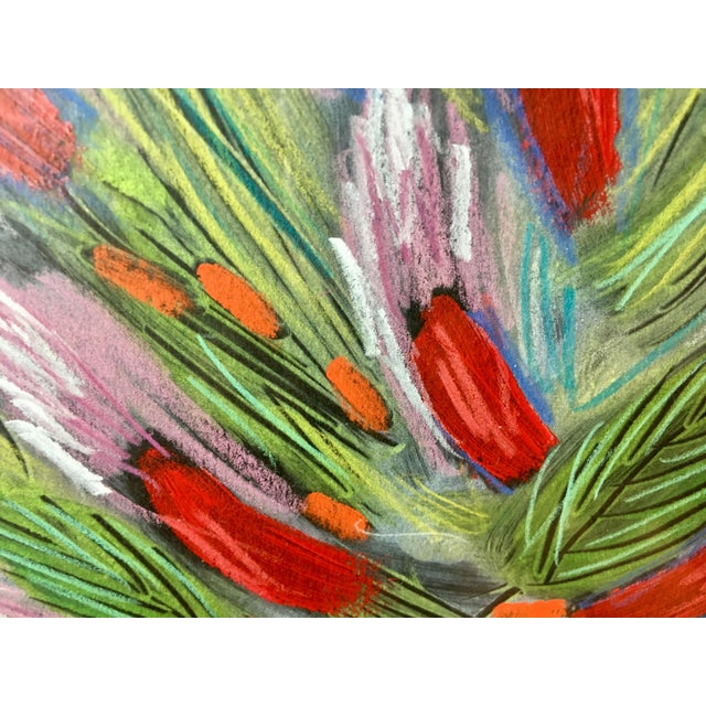 Acrylic Paint 1991 Original Penny Feder Expressionist Floral Monotype Painting- Vintage/Signed For Sale - Image 7 of 13