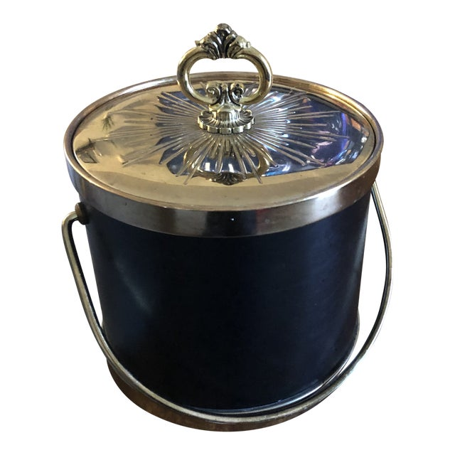 1960s Faux Leather & Gold Ice Bucket For Sale
