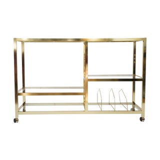 Mid-Century Rolling Brass Bar Cart For Sale