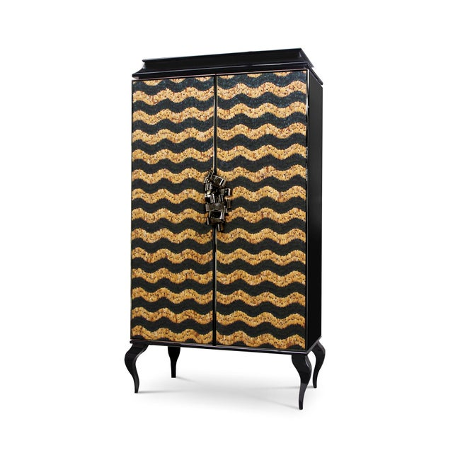 This utterly desirable double door pagoda top armoire is covered in delicate, individually placed natural feathers. An...