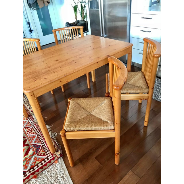 1960s Vintage Dining Table & 4 Pine Spindle Back and Rush Chairs - 5 Pieces For Sale - Image 11 of 11